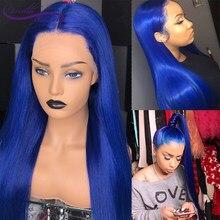 Carina brasileiro glueless em linha reta 13x6 peruca dianteira do laço azul colorido perucas de cabelo humano remy cabelo pré arrancado com cabelo do bebê