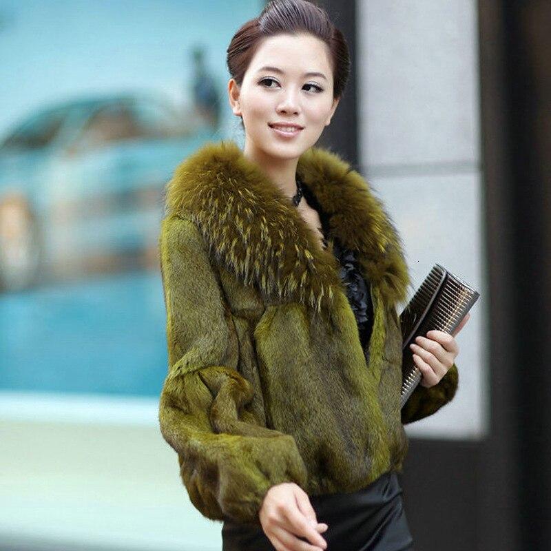 Elegant Thick  Natural Fur Short Coat For Women Slim Autumn Winter Raccoon Dog Fur Collar Rabbit Real Fur Coats Female Jeacket