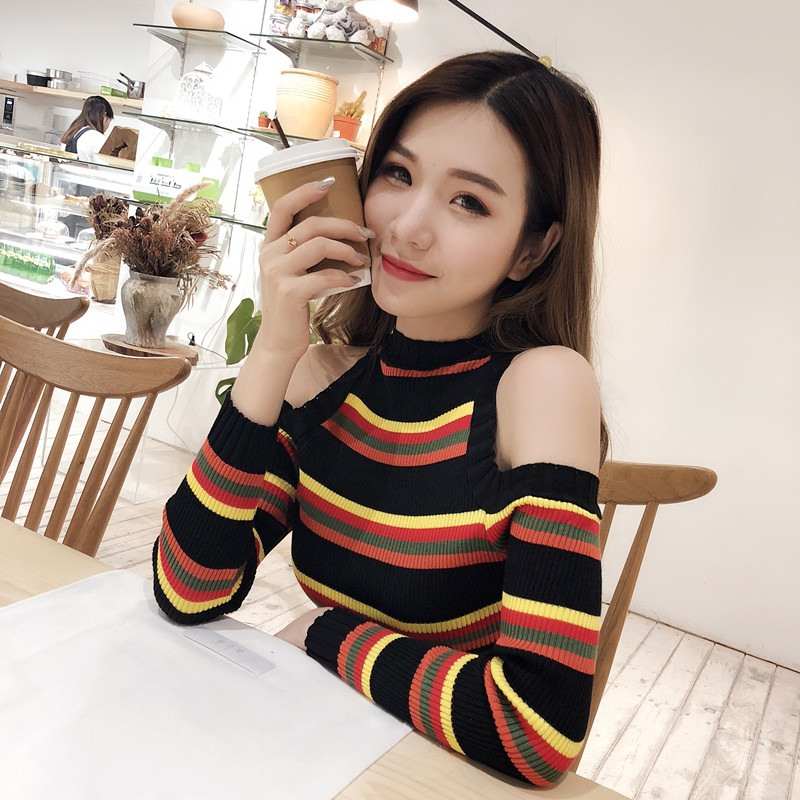 Sexy Off-Shoulder Women Sweater Colorful Striped Sweater 2019 Winter Autumn Female Knitted Sweater Pullover Female Tricot Tops
