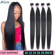 Allove Indian Hair Bundles 30 32 34 36 38 Long Hair Bundles Straight Hair Bundles 100% Human Hair Extensions Non Remy Hair