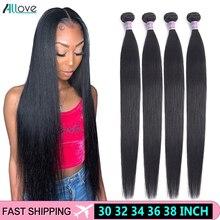 Allove cabelo falso, cabelo indiano, pacotes de extensões de cabelo 100% humano, 30, 32, 34, 36, 38 cabelo remy,