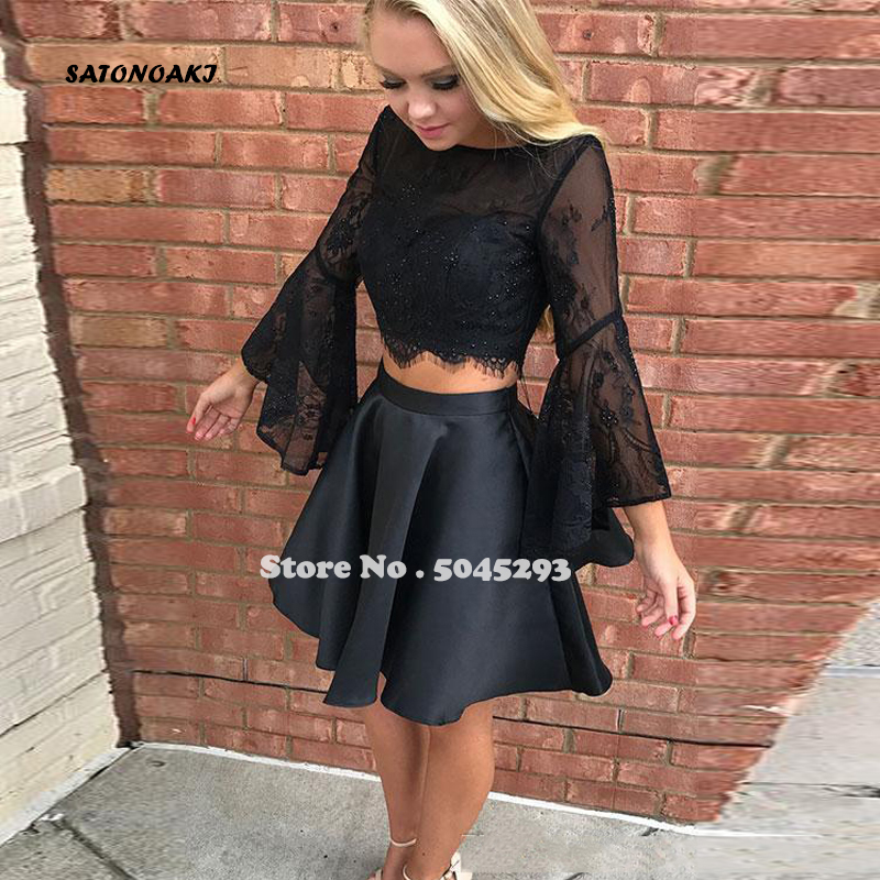 SATONOAKI Two Pieces Short Prom Dresses Black Long Sleeves Lace Beaded Homecoming Dresses Backless Mini Cocktail Party Gowns