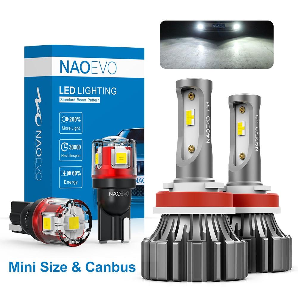 NAO H4 светодиодный безвентиляторный автомобильный светильник H7 H11 HB4 HB3 5202 H9 H8 H10 9005 9006 CANBUS Mini Size CSP авто противотуманный светильник белый желты...