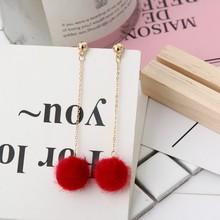 Cute Fur Ball PomPom Long Drop Earrings For Women Soft Pom Pom Dangle Earring Jewelry Winter Female Fashion Simple Brincos Gift