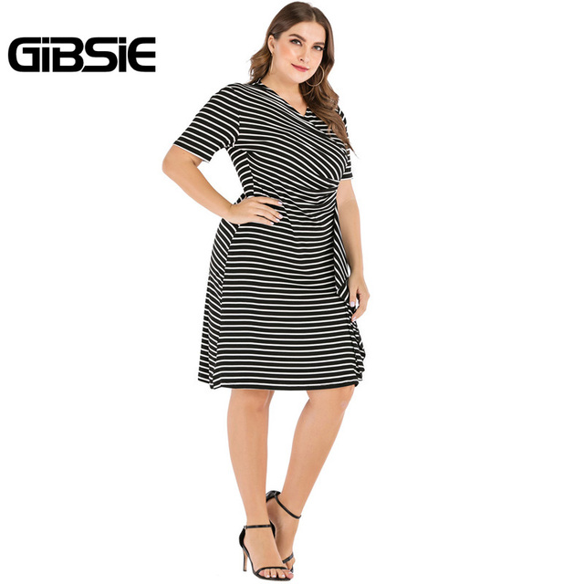GIBSIE Plus Size V-Neck Short Sleeve Striped Ruffles Midi Dress Women Summer Casual OL High Waist Female Slim Bodycon Dresses 4