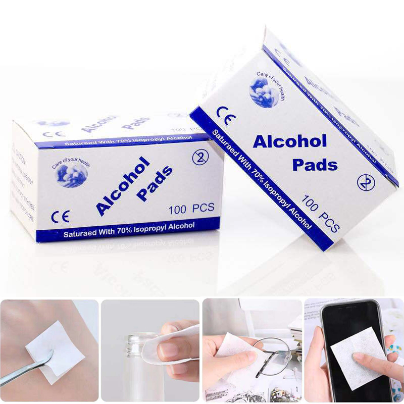 Disposable Alcohol Cotton Wipes Pad Mobile Phone Cleaning Plate Blood Sterilization Disinfection Wet Wipes 100 Pieces