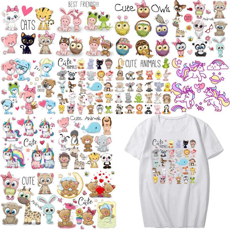 Juego de parches de animales de dibujos animados, transferencia de hierro, lindo unicornio, gato, búho, perro, parches de flores para niños y niñas, ropa, camiseta DIY, plancha de calor
