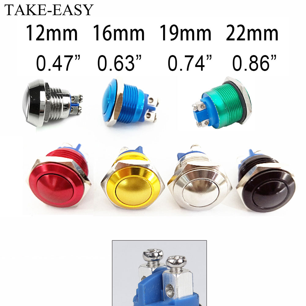 TAKE-EASY Screw Electronic Button Switch Metal Pressure Switch Waterproof Momentary Push Button 12v 240v Switches 12/16/19/22mm