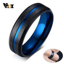 Vnox-anillo de acero inoxidable con acabado mate para hombre, sortija, color azul, fino, masculino