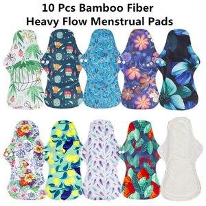 Image 2 - [Simfamily] 10 pçs orgânico bambu carvão lavável higiene almofadas menstruais fluxo pesado almofadas sanitárias senhora almofada de pano almofadas reutilizáveis