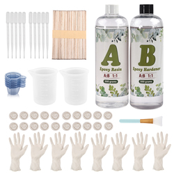 1000g 1:1 AB Epoxy Resin Glue With Tools Kit Set Measuring Cups Gloves Silicone Brush For DIY Jewelry Making