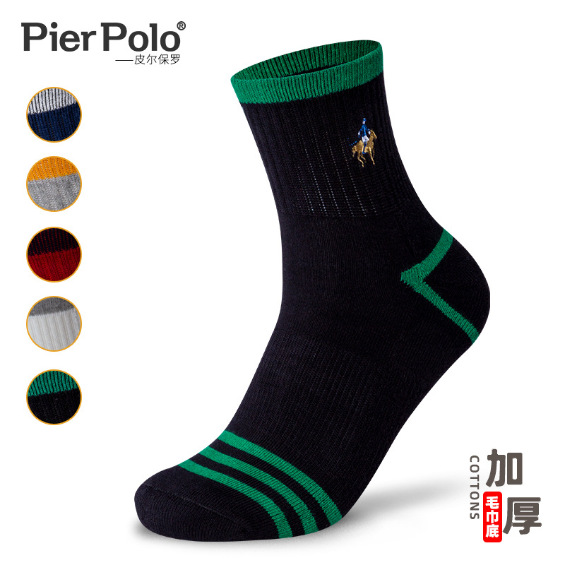 Brand New Hight Quality PIER POLO Thick Terry Socks Casual Stripedd Cotton Socks  Autumn Winter Breathable Men's Socks Wholesale