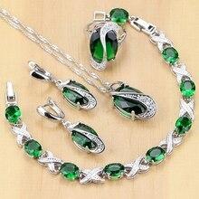 Conjunto de joyería de plata de ley 925 con zirconia verde, set de pendientes, colgante, collar, anillos, pulsera, color blanco