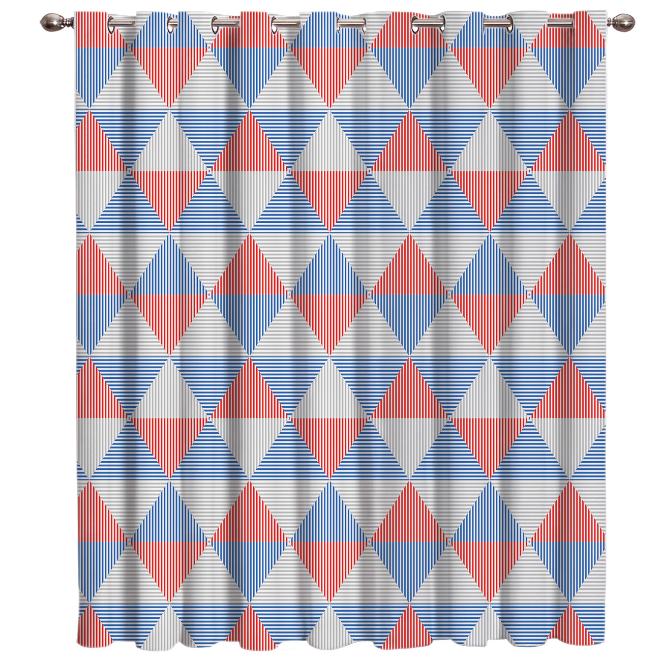 Geometric Red-Blue Triangle Mosaic Pattern Curtains Bedroom Kitchen Drapes Indoor Fabric Kids Swag Curtain Panels With Grommets