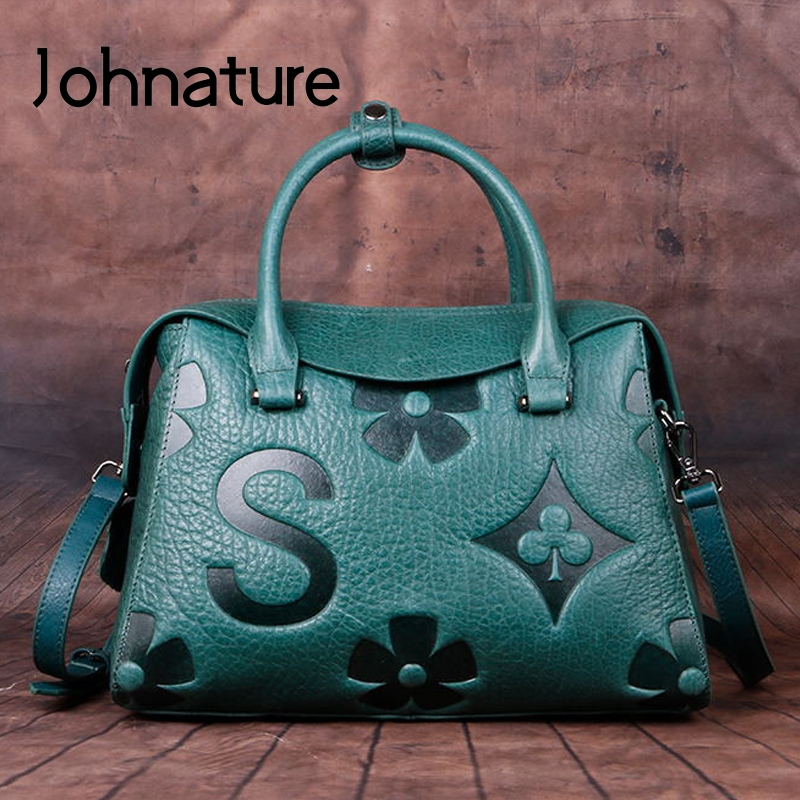 Johnature Vintage Letter Embossed Women Messenger Bag 2020 New Leisure Genuine Leather Handbag Large Capacity Shoulder Bags