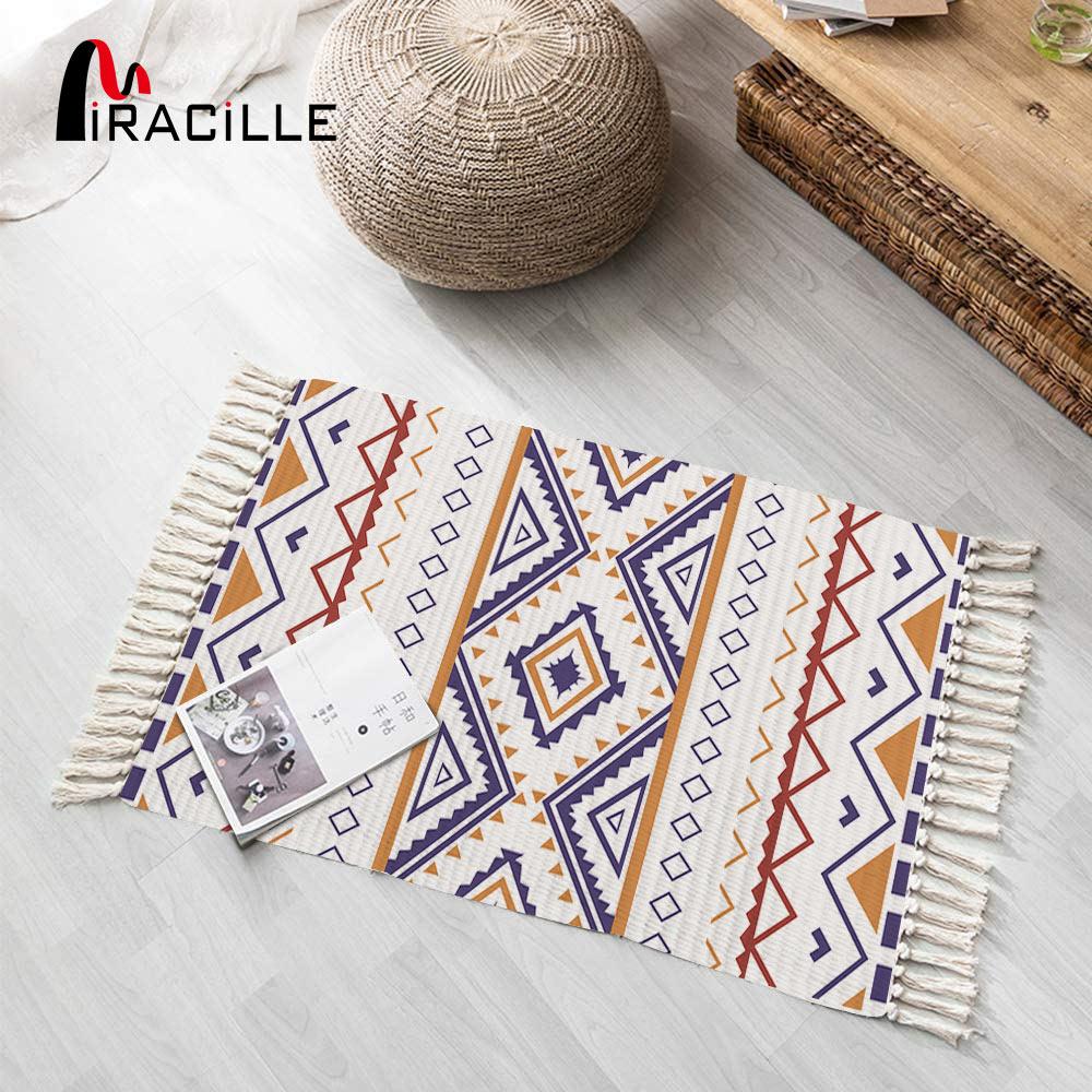 Miracille Cotton Linen Woven Carpet With Tassel Home Decorative Area Rug Geometric Floor Mat Tea Living Room Bedroom|Rug|   - AliExpress