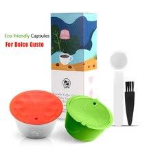 스테인레스 스틸 리필 형 캡슐 컵 Dolce Gusto 커피 밀크 파우더 재사용 가능 필터 친환경 식품 등급