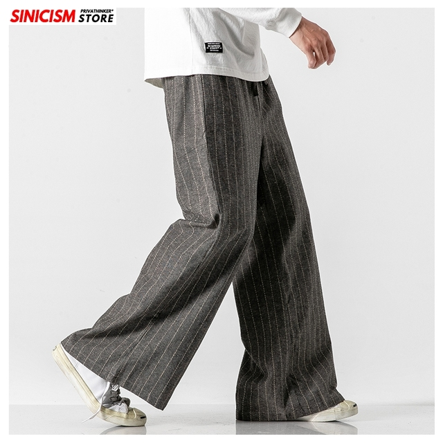Sinicism Store Men Striped Chinese Style Wide Leg Pants Mens 2020 Japan Style Loose Trousers Male Oversize Vintage Casual Pants 20