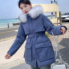 Hooded large size fur collar thick section warm lady Long Parkes winter jacket female long sexy