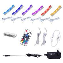Aiboo Unter Schrank Led leuchten für Glas Rand Regal Zurück Seite Clip Clamp Streifen Beleuchtung mit Fernbedienung und Stecker 6 lampen Kit