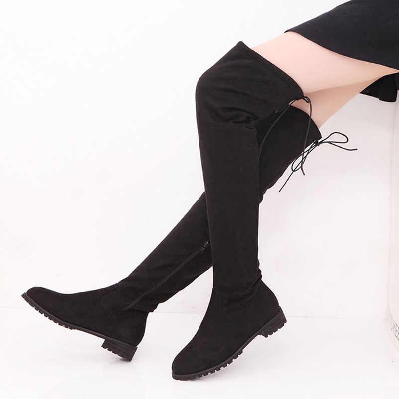 Kadın botları seksi over-the-diz çizmeler kadın kış düz ayakkabı kadın yüksek çizmeler artı boyutu kadın ayakkabı dantel bayanlar patik