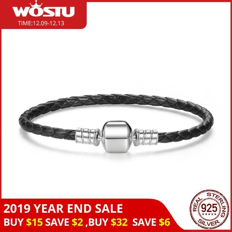 2019 nowy 100% 925 srebro i prawdziwe czarne skórzany łańcuszek Charm Fit bransoletka dla kobiet mężczyzn oryginalna elegancka biżuteria XCHS911
