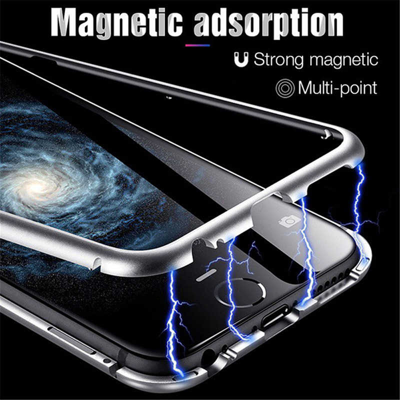 Funda metálica de adsorción magnética para iPhone 11 Pro X XS funda magnética trasera de vidrio templado para iPhone 6 6s 7 8 Plus 11Pro