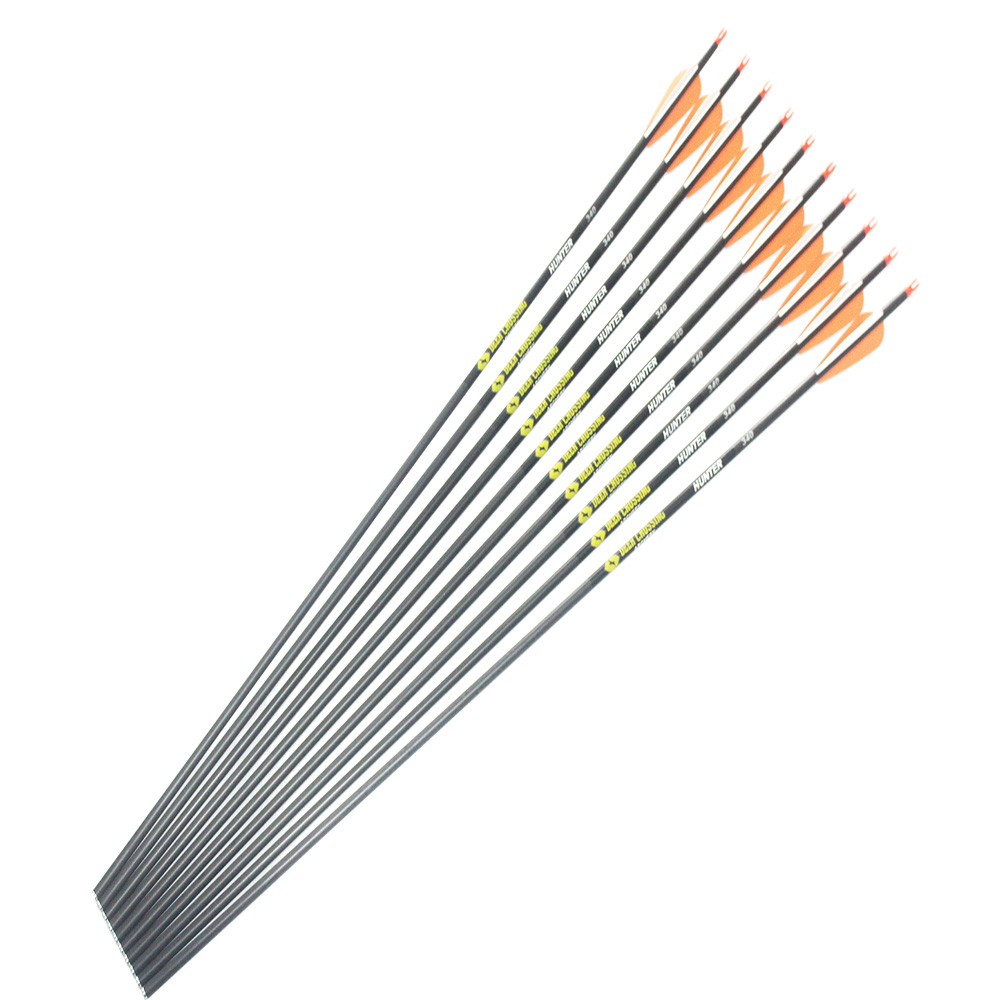 6/12Pcs Carbon Arrows Spine 300 340 400 500 600 ID6.2mm 3