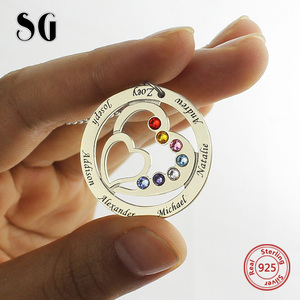 Image 2 - SG personalise 925 sterling silver 2 Heart necklaces for women 2019 new Custom birthstone and engraving name jewelry gifts