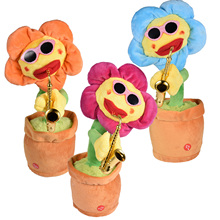Electric Toys Singing And Dancing Flowers Saxophone Sunflower 80 Music With Lights Net Celebrity Funny Children's Toy Everyday