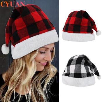 Czapki bożonarodzeniowe świętego mikołaja czerwona czarna chusta czapka świąteczna ozdoby choinkowe na boże narodzenie w domu czapka Navidad 2020 dekoracja świąteczna tanie i dobre opinie Dla osób dorosłych Tkanina
