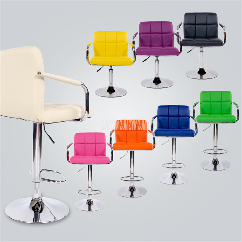 European Style Lifting Swivel Bar Chair Rotating Height Adjustable PU Leather High/Low Bar Counter Chair With High Backrest