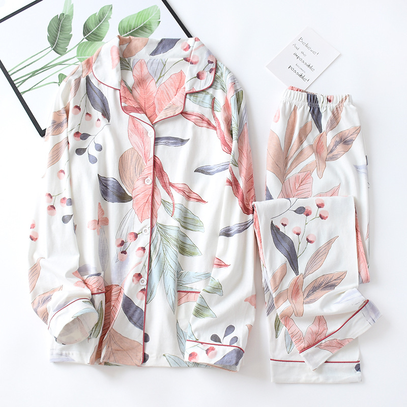 Women Long Sleeve Nightwear Autumn 100% Cotton Knitted Pajama Set Turn-down Collar Leaves Printing Pajamas Loungewear Sleepwear