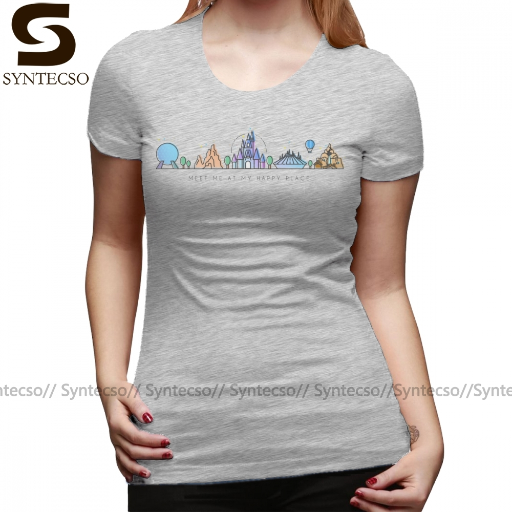 Mountain T-Shirt Meet Me At My Happy Place Vector Orlando Theme Park Illustration Design T Shirt O Neck tshirt Ladies Tee Shirt image