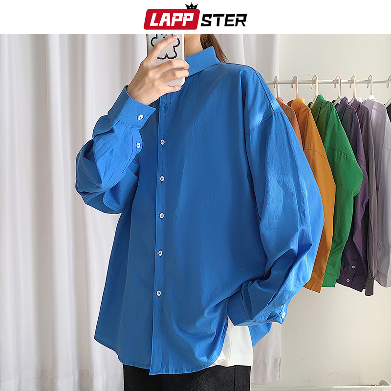 LAPPSTER Men Oversized Colorful Solid Shirt Long Sleeve 2020 Mens Korean Fashions Shirt Regular Fit Women Spring Oversize Shirt