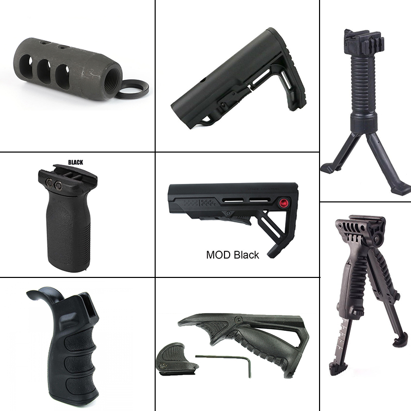 Hunting AR15 COMPACT COMPETITION MUZZLE BRAKE +Tactical Foregrip Handle Grip Folding Bipod+Hunting Stock Support Water Gun Holde