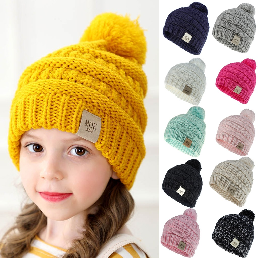 Knitted Hat Caps Beanie-Cap Wool Girls Winter Boys Hairball Child Casual Ski-Hat New-Accessories