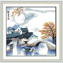 Joy Sunday,Countryside,cross stitch embroidery set,cross pattern,cross needlework,Scenery picture cross kit