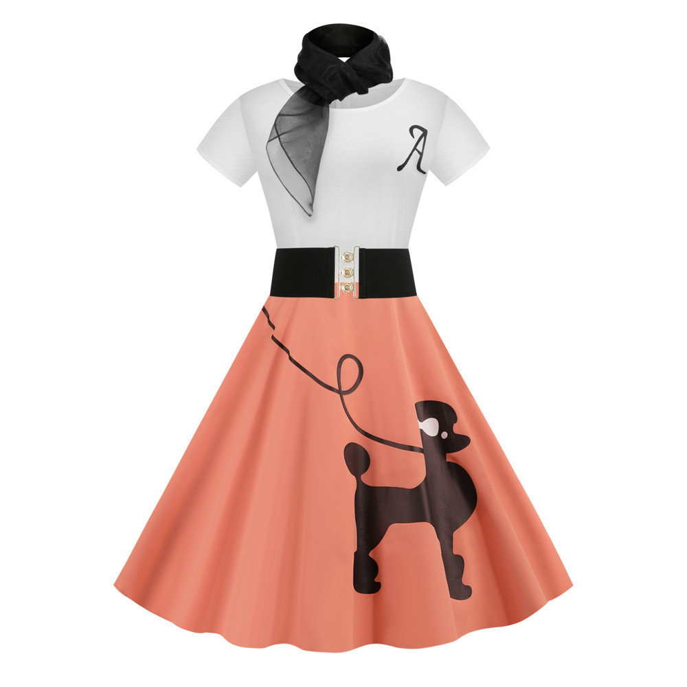 Vintage Poodle Dresses with Scarf Women Clothing 50s 60s Pinup Vestidos Summer Puppy Retro Casual Party Robe Rockabilly Dresses