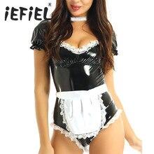 3Pcs Mulheres Francês Da Empregada Doméstica Cosplay Halloween Trajes Adultos Cosplay Bodysuit Outfit Heart shaped Colar Quadrado para a Festa de Carnaval