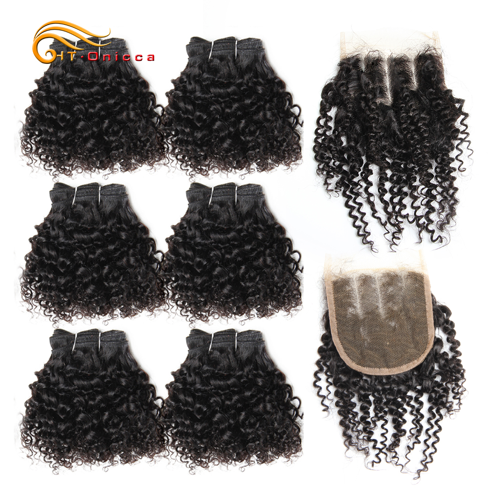 Jerry/Pissy/Pixie Curly Human Hair With Closure 6Pcs Bundles With Closure Brazilian Remy Hair 10 12 Inch Weft 4*4 Closure