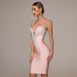 Image 4 - 2020 herbst Neue frauen Mode Sexy Verband Kleid Blau Weiß Rosa Schwarz Spaghetti V ausschnitt Quaste Party Weihnachten Kleid