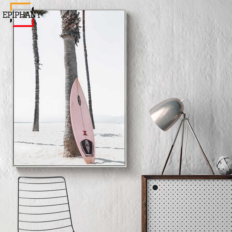 Surf Poster Set Pastel Beach Decor Pink Surfboard California Coastal Wall Art Paintings for Living Rooml Nordic Decoration Home