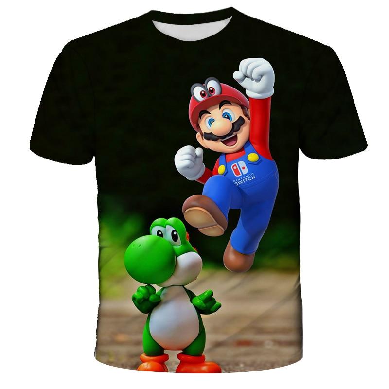 Летние забавные детские футболки с рисунком Супер Марио, детская повседневная одежда, топы для малышей, пришли Аниме футболки для мальчиков...