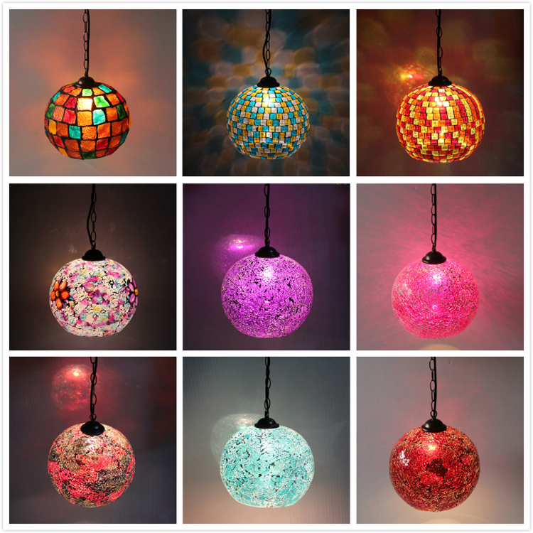 Bohemian Style Colorful Mosaic Glass Shell Pendant Light Cafe Restaurant Lamp Deco Chambre