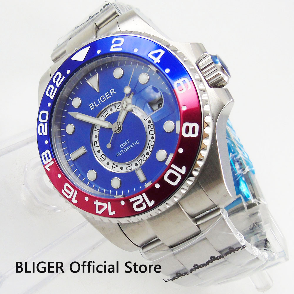 Sapphire Crystal BLIGER 43MM Blue Dial GMT Indicator Blue Red Bezel Luminous Marks Automatic Movement Men's Watch Date Magnifier-in Mechanical Watches from Watches    1