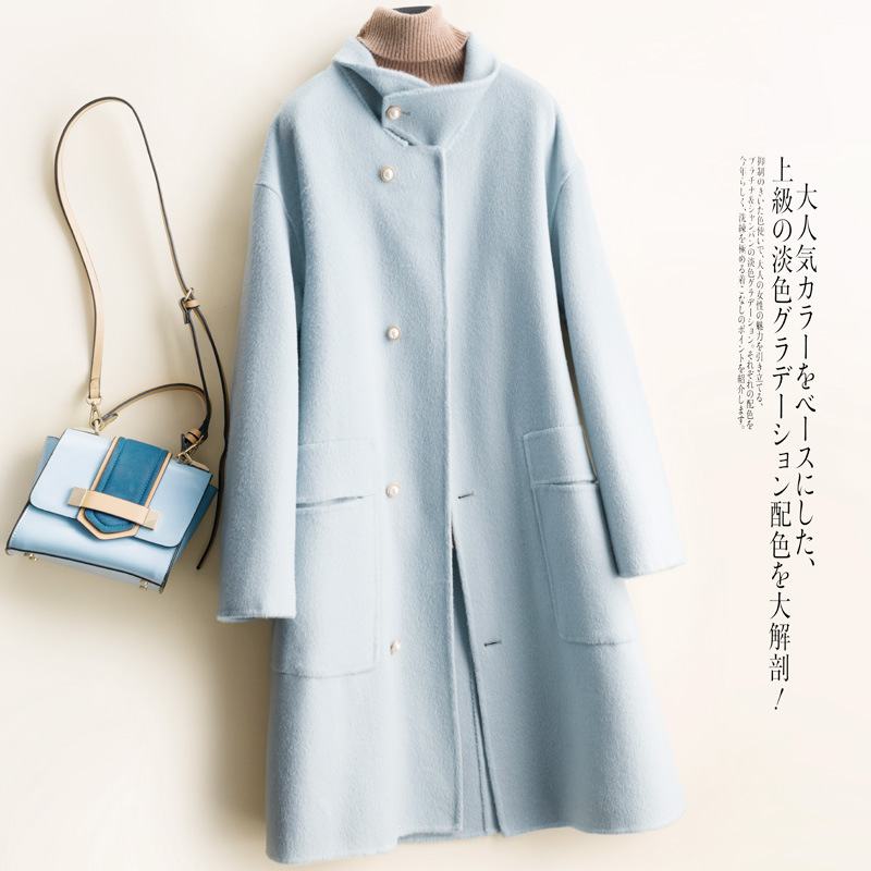Двухстороннее кашемировое пальто для женщин, осень 2019, новый стиль, корейский стиль, без сезона, черно белое, с рисунком, средней длины, высокое ru