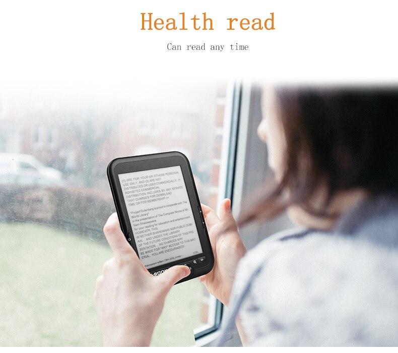 TOPSALE Lector de Ebook de 6 Pulgadas y 4 GB E-Ink Capacitiva e Book Luz Eink Pantalla E-Book E-Ink E-Reader MP3 con Estuche WMA PDF HTML