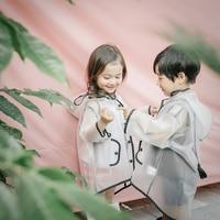 2019 New Boy Girl Children Hooded Waterproof EVA Transparent Raincoat Kids Tassel Pointy Hat Clear Rain Coat Outdoor Rainwear