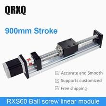 900mm Effective Travel Length Ballscrew Linear Guide Rail Motion Module Table CNC+Step Motor стоимость